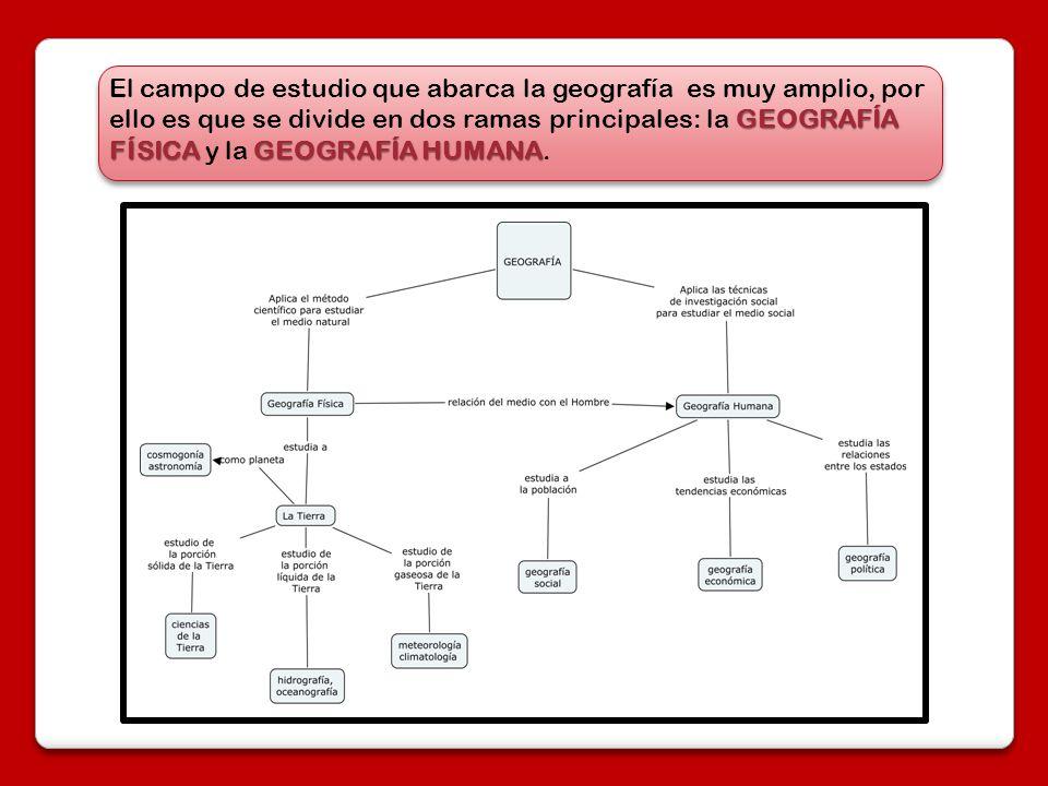 El campo de estudio que abarca la geografía es muy amplio, por ello es que se divide en dos ramas principales: la GEOGRAFÍA FÍSICA y la GEOGRAFÍA HUMANA.