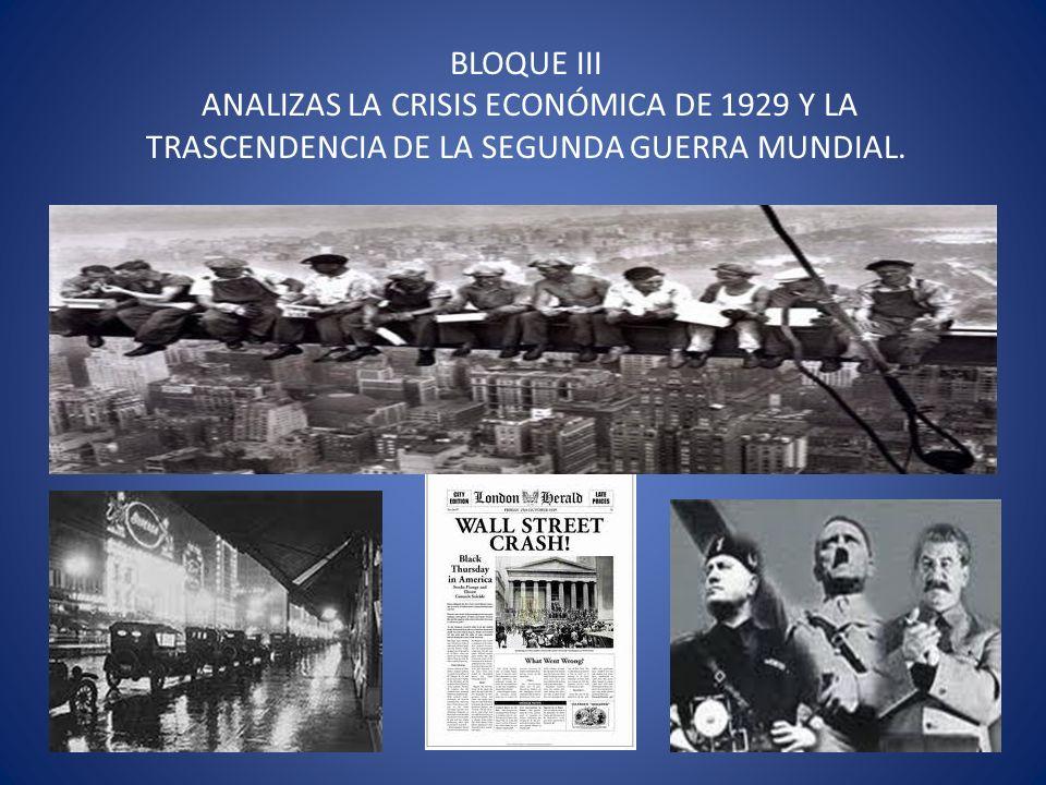 BLOQUE III ANALIZAS LA CRISIS ECONÓMICA DE 1929 Y LA TRASCENDENCIA DE LA SEGUNDA GUERRA MUNDIAL.