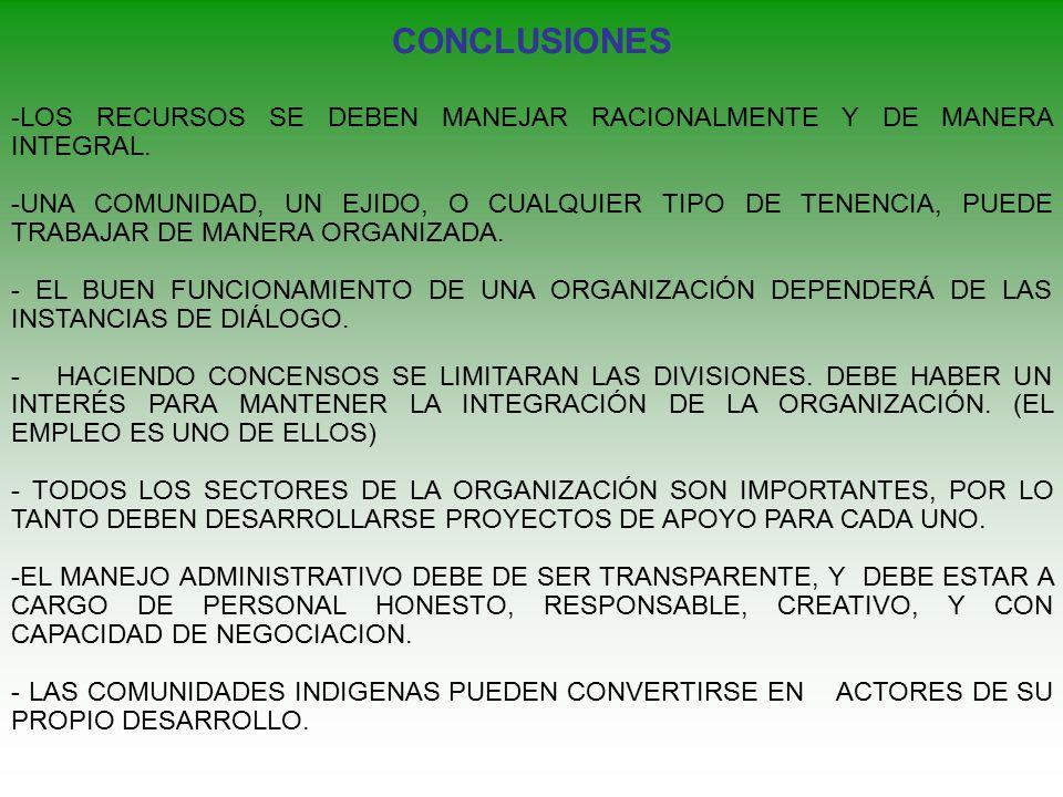 CONCLUSIONES -LOS RECURSOS SE DEBEN MANEJAR RACIONALMENTE Y DE MANERA INTEGRAL.