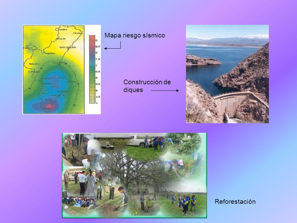 Mapa riesgo sísmico Construcción de diques Reforestación