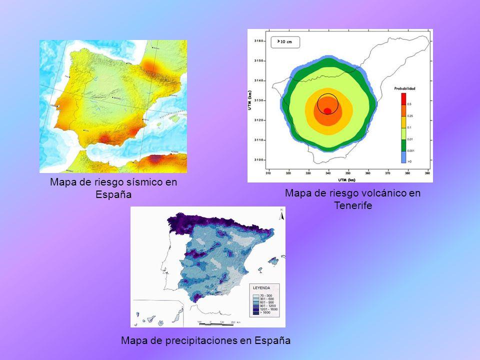 Mapa de riesgo sísmico en España Mapa de riesgo volcánico en Tenerife