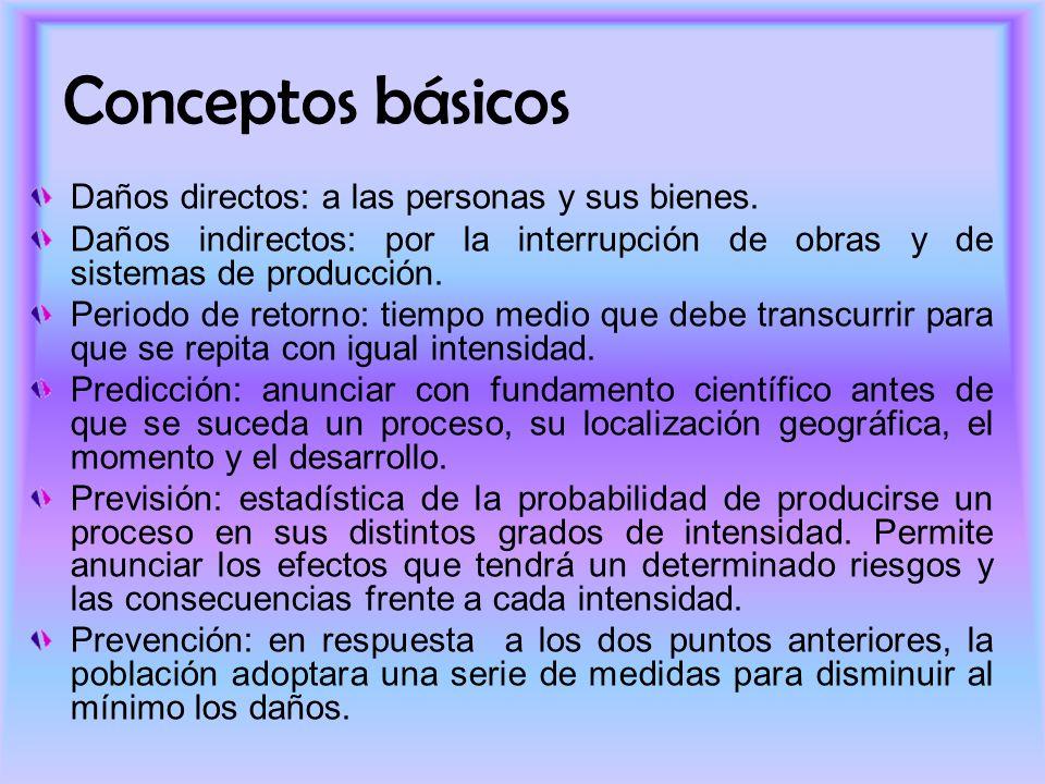 Conceptos básicos Daños directos: a las personas y sus bienes.