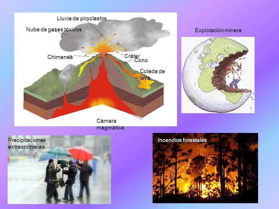 Lluvia de piroclastos Nube de gases tóxicos. Chimenea. Cráter. Cono. Colada de lava. Cámara magmática.