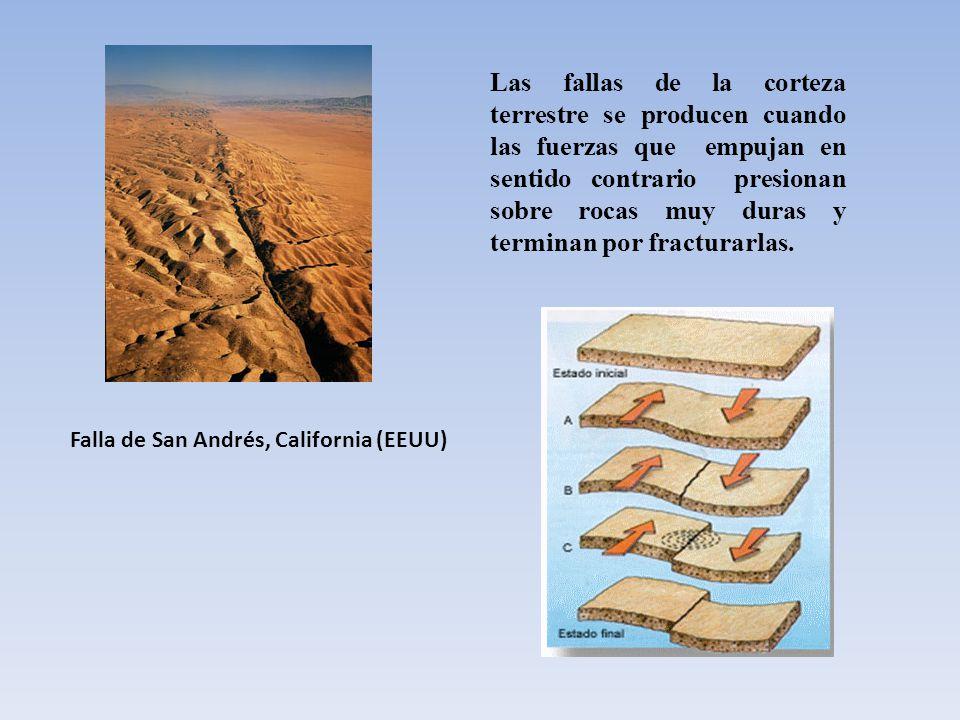 Las fallas de la corteza terrestre se producen cuando las fuerzas que empujan en sentido contrario presionan sobre rocas muy duras y terminan por fracturarlas.