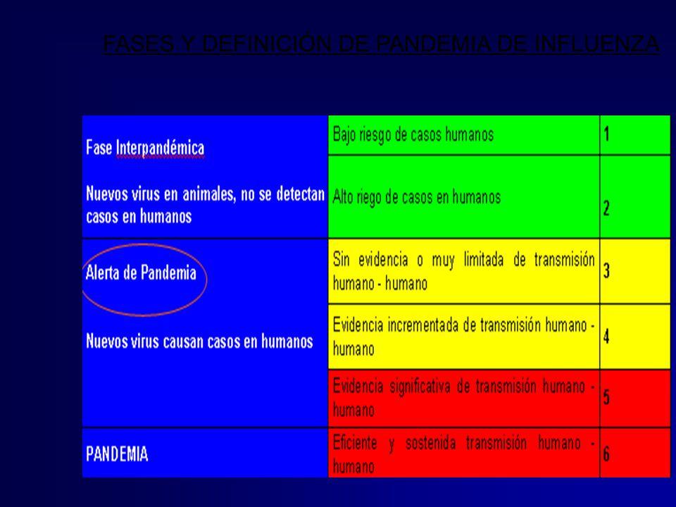 FASES Y DEFINICIÓN DE PANDEMIA DE INFLUENZA