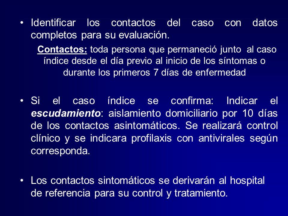 Identificar los contactos del caso con datos completos para su evaluación.