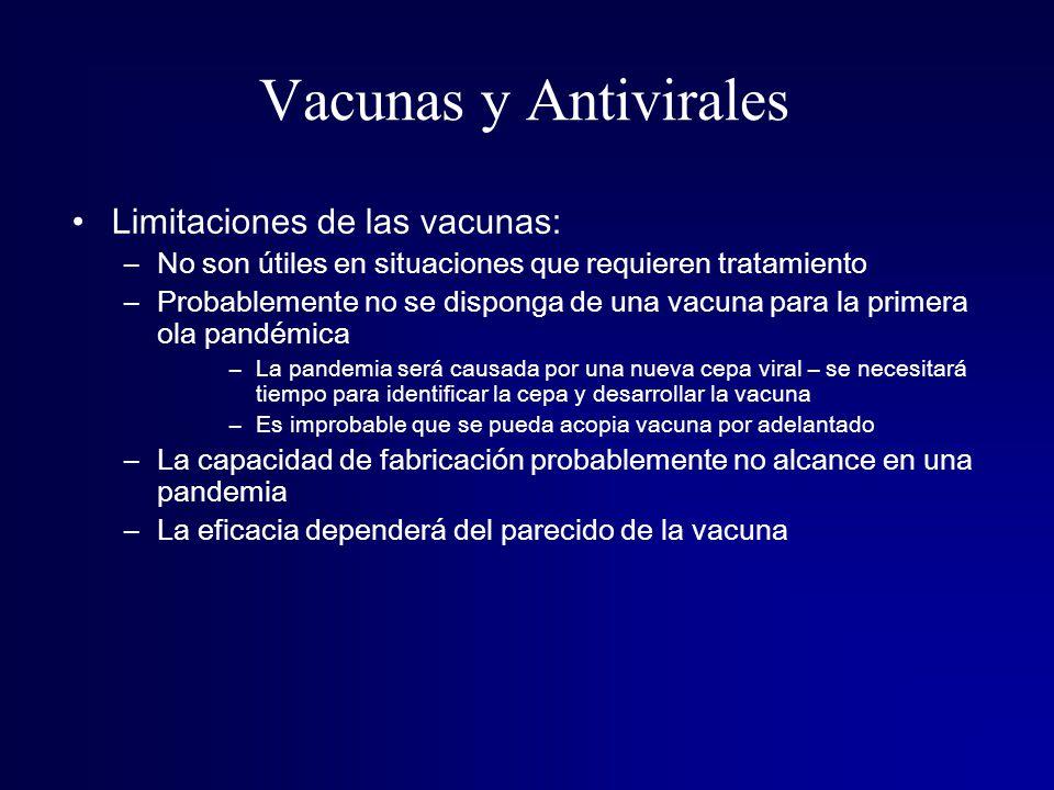 Vacunas y Antivirales Limitaciones de las vacunas: