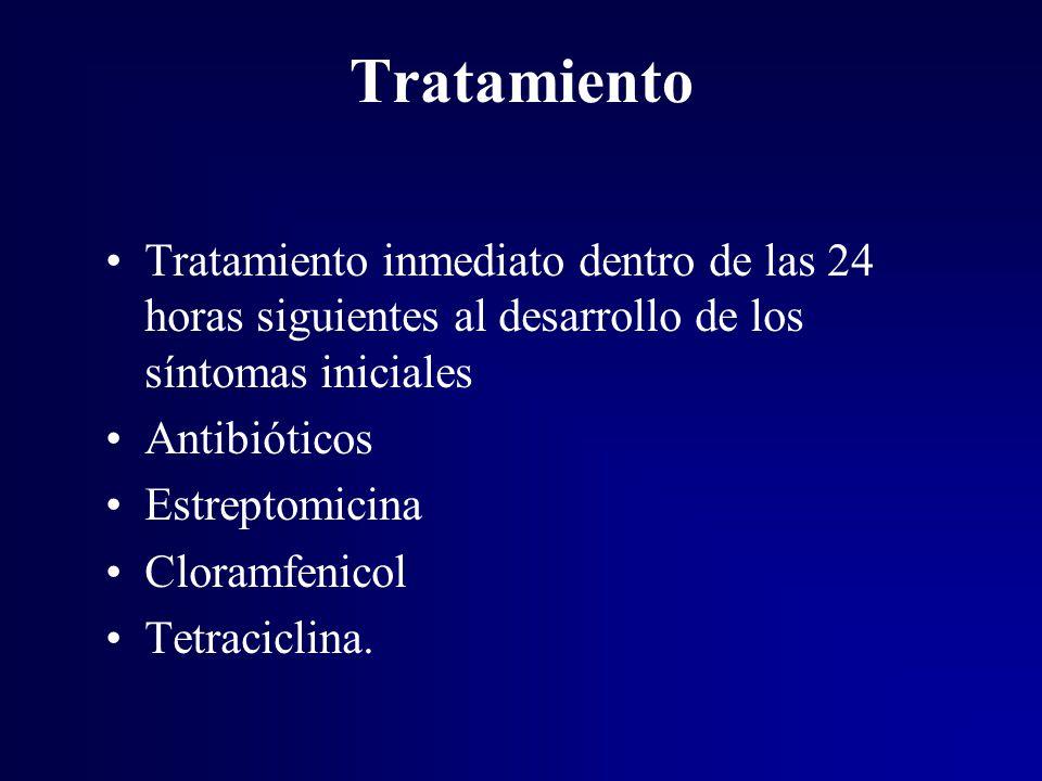 Tratamiento Tratamiento inmediato dentro de las 24 horas siguientes al desarrollo de los síntomas iniciales.