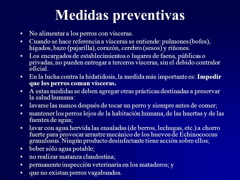 Medidas preventivas No alimentar a los perros con vísceras.