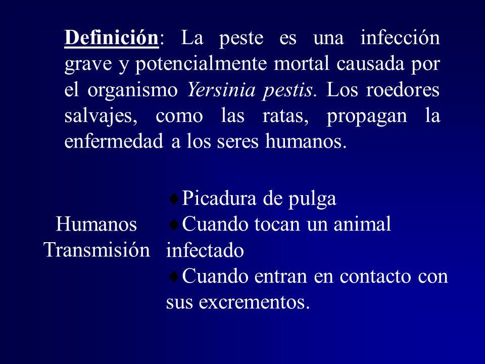 Definición: La peste es una infección grave y potencialmente mortal causada por el organismo Yersinia pestis. Los roedores salvajes, como las ratas, propagan la enfermedad a los seres humanos.