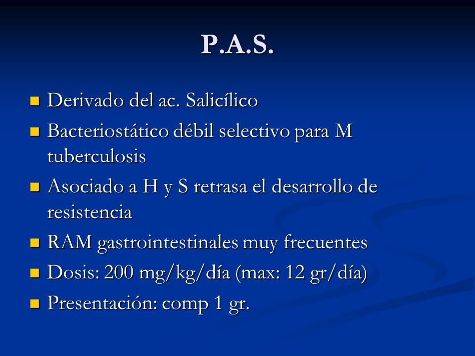 P.A.S. Derivado del ac. Salicílico