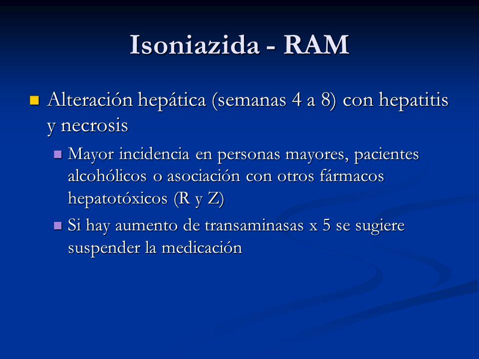 Isoniazida - RAM Alteración hepática (semanas 4 a 8) con hepatitis y necrosis.