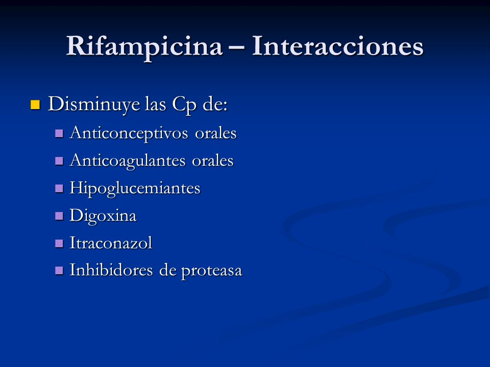 Rifampicina – Interacciones