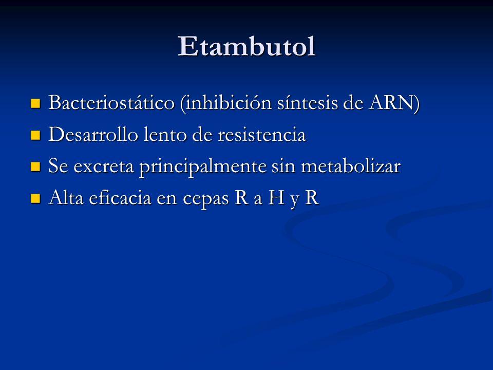 Etambutol Bacteriostático (inhibición síntesis de ARN)