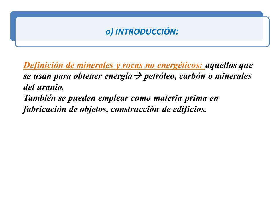 a) INTRODUCCIÓN: Definición de minerales y rocas no energéticos: aquéllos que se usan para obtener energía petróleo, carbón o minerales del uranio.