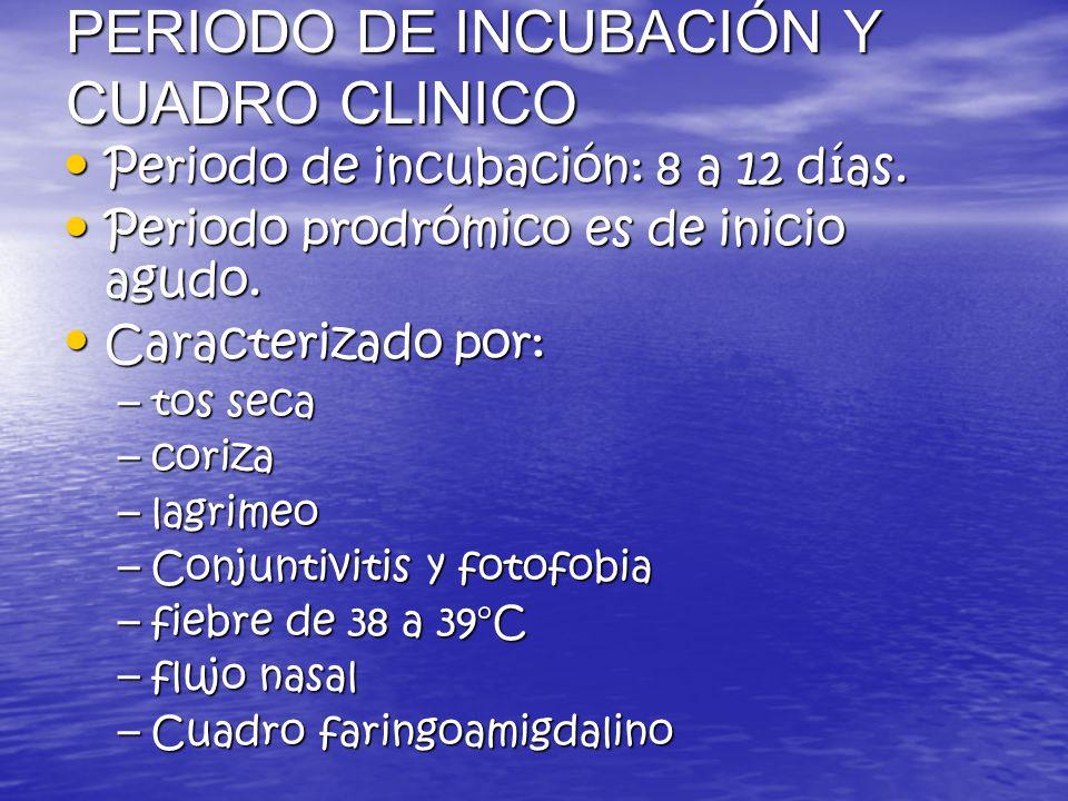 PERIODO DE INCUBACIÓN Y CUADRO CLINICO