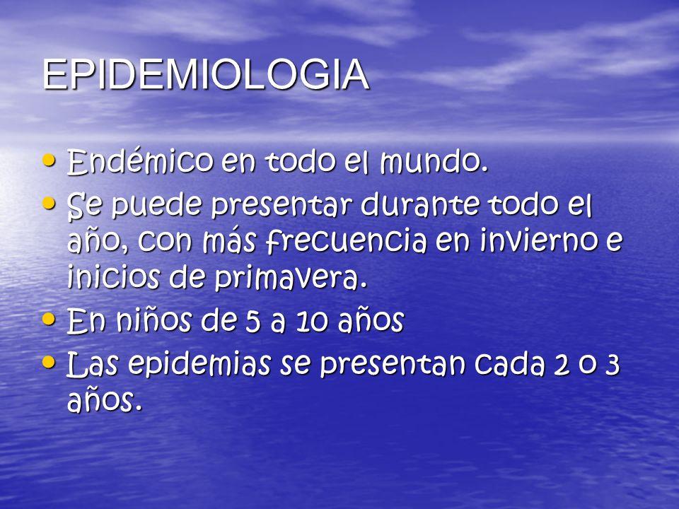 EPIDEMIOLOGIA Endémico en todo el mundo.