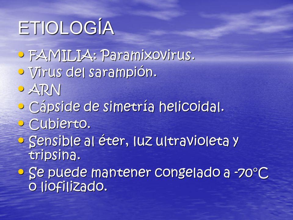 ETIOLOGÍA FAMILIA: Paramixovirus. Virus del sarampión. ARN