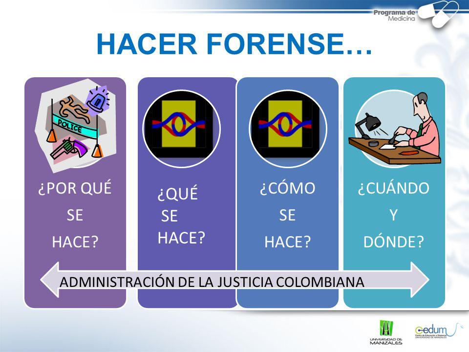 HACER FORENSE… ¿QUÉ SE HACE ADMINISTRACIÓN DE LA JUSTICIA COLOMBIANA