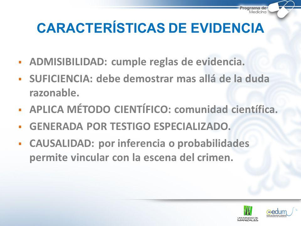 CARACTERÍSTICAS DE EVIDENCIA