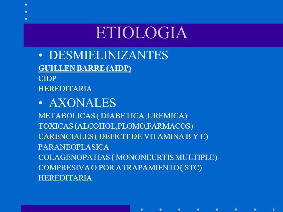 ETIOLOGIA DESMIELINIZANTES AXONALES GUILLEN BARRE (AIDP) CIDP