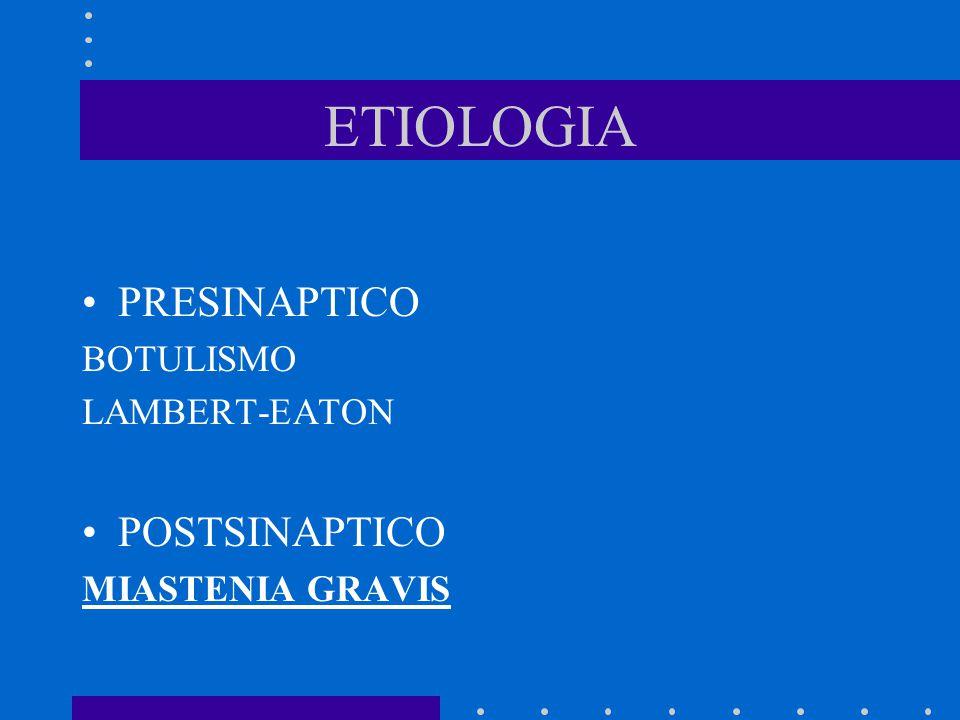 ETIOLOGIA PRESINAPTICO POSTSINAPTICO BOTULISMO LAMBERT-EATON