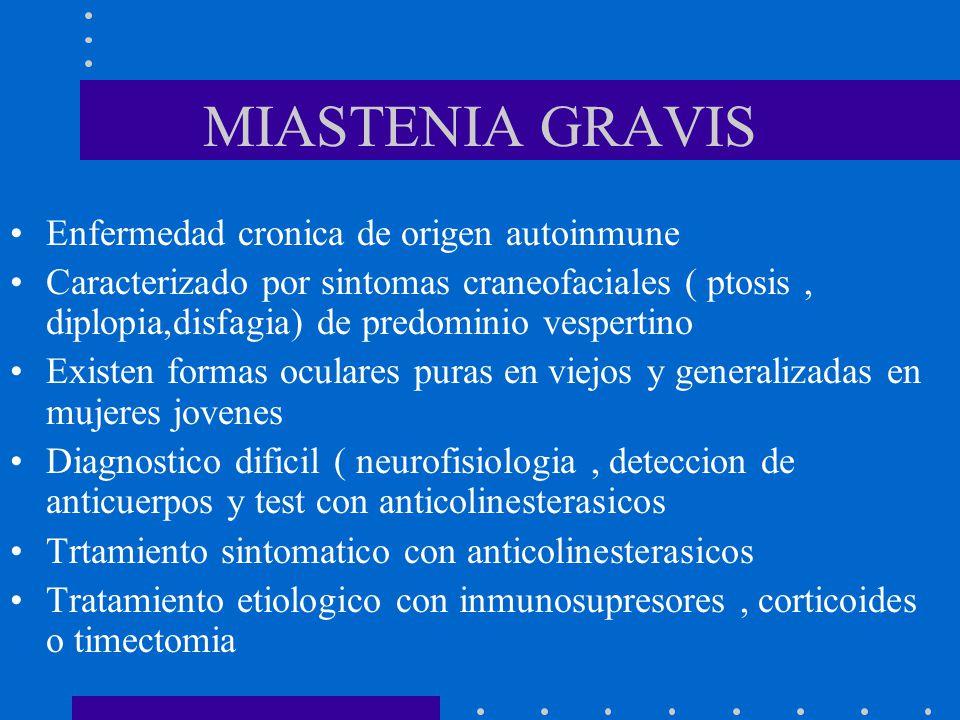 MIASTENIA GRAVIS Enfermedad cronica de origen autoinmune