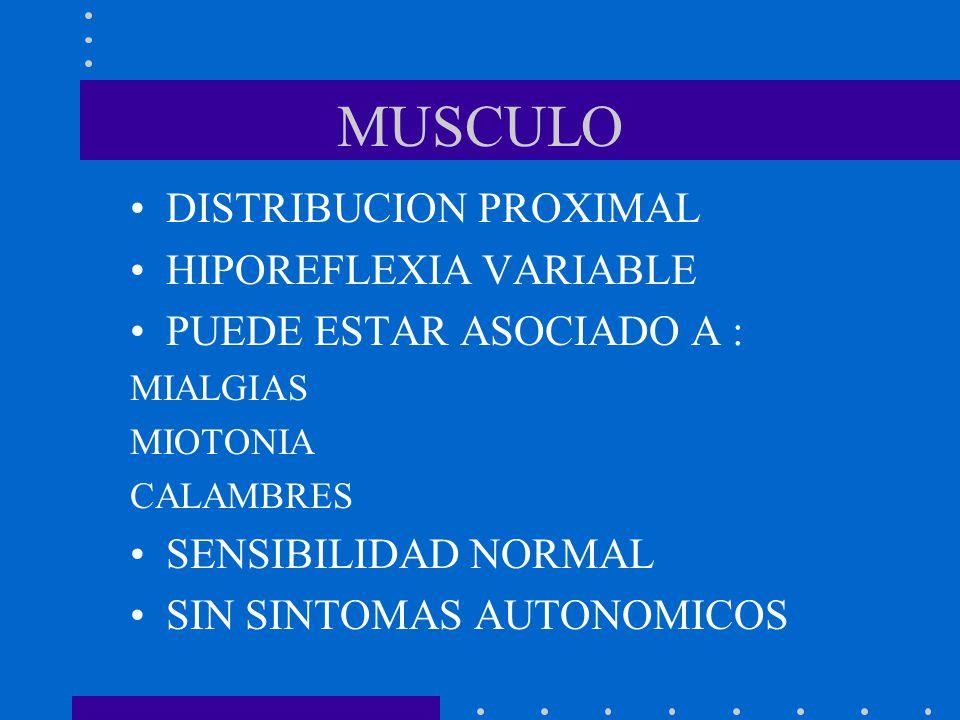 MUSCULO DISTRIBUCION PROXIMAL HIPOREFLEXIA VARIABLE