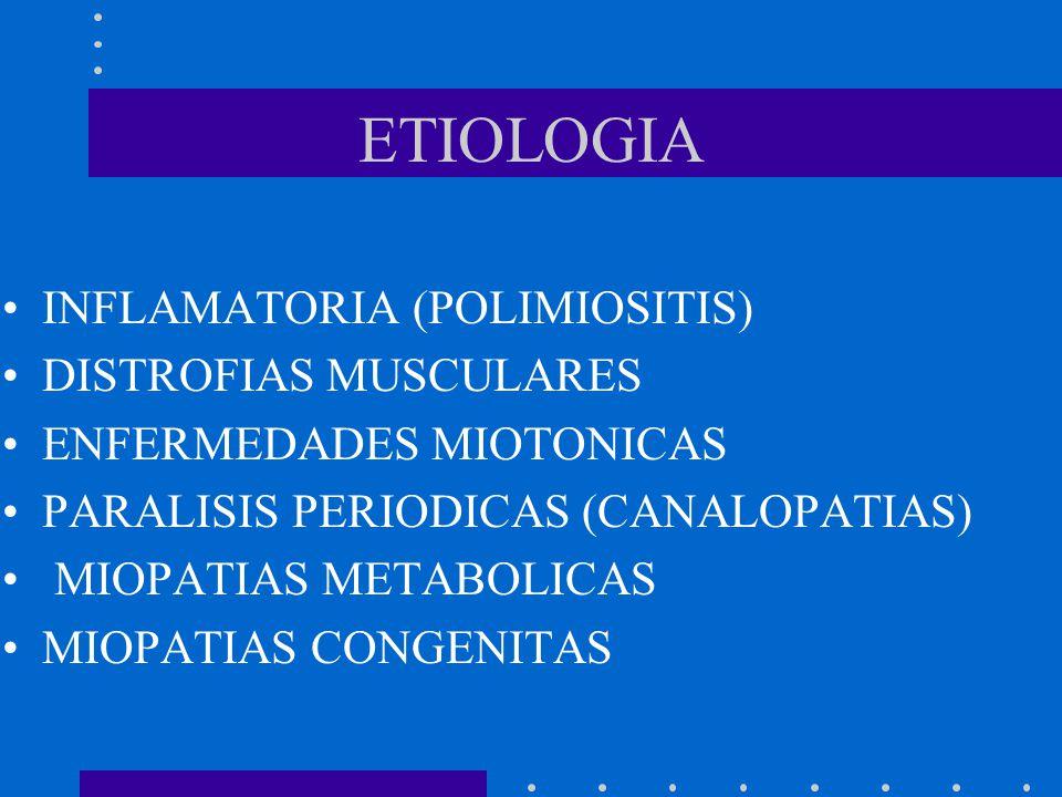 ETIOLOGIA INFLAMATORIA (POLIMIOSITIS) DISTROFIAS MUSCULARES