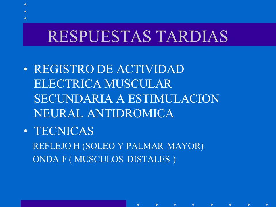 RESPUESTAS TARDIAS REGISTRO DE ACTIVIDAD ELECTRICA MUSCULAR SECUNDARIA A ESTIMULACION NEURAL ANTIDROMICA.