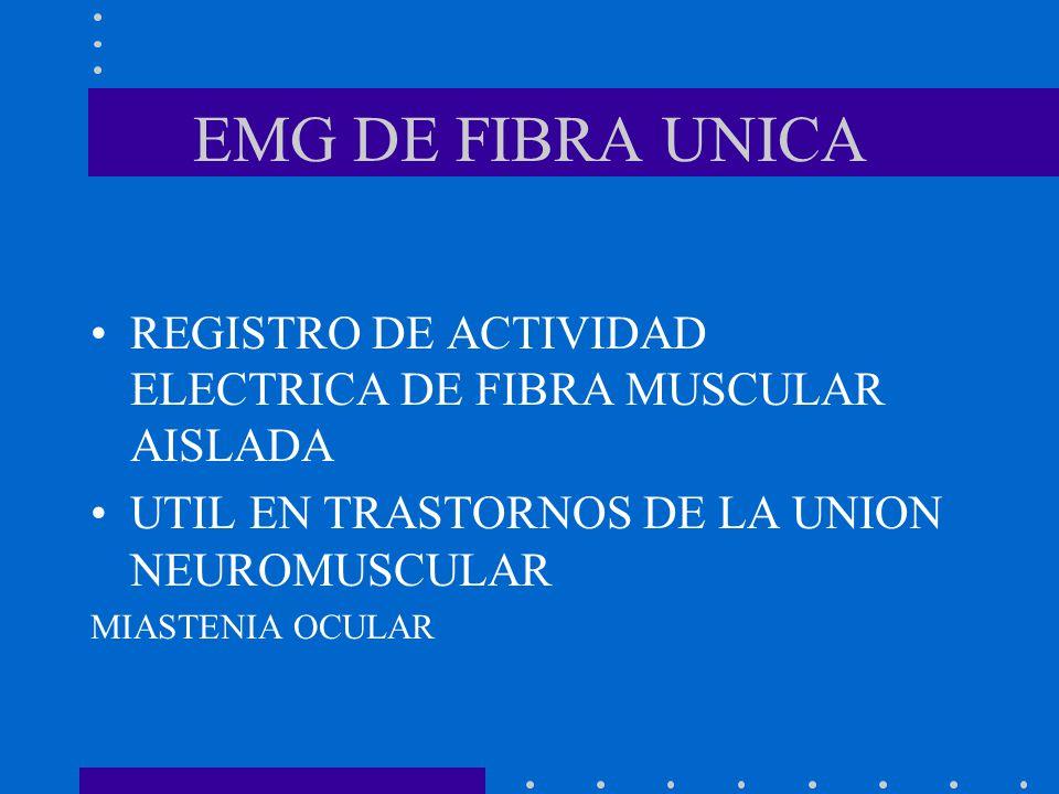 EMG DE FIBRA UNICA REGISTRO DE ACTIVIDAD ELECTRICA DE FIBRA MUSCULAR AISLADA. UTIL EN TRASTORNOS DE LA UNION NEUROMUSCULAR.