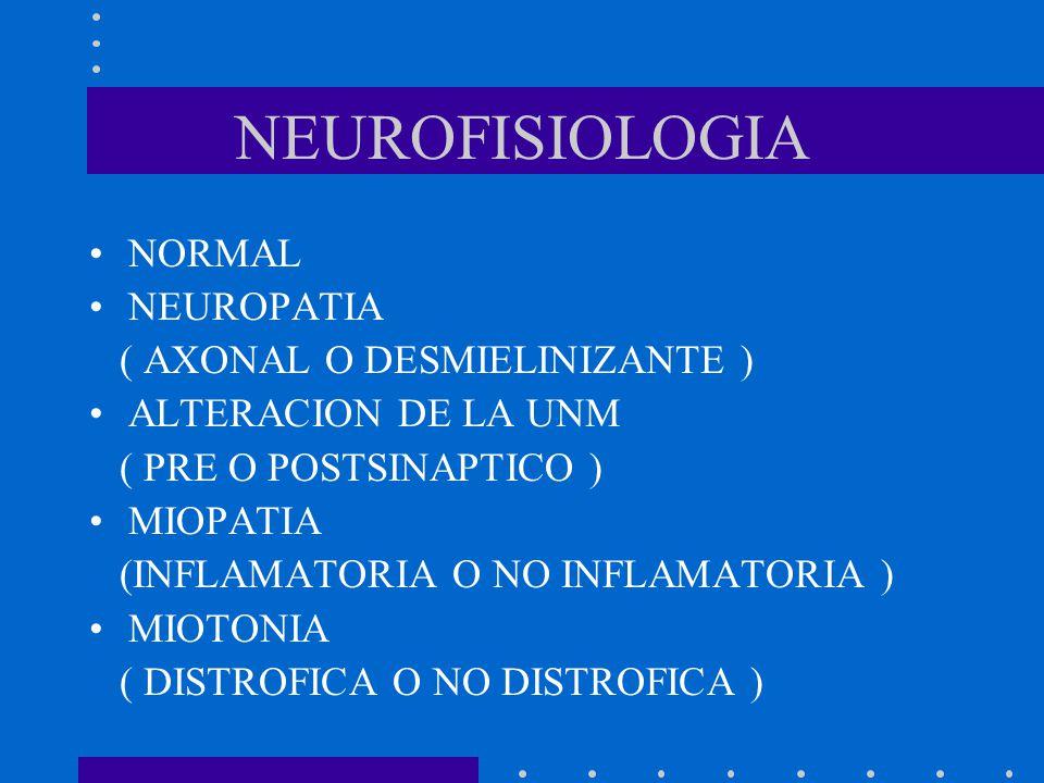 NEUROFISIOLOGIA NORMAL NEUROPATIA ( AXONAL O DESMIELINIZANTE )