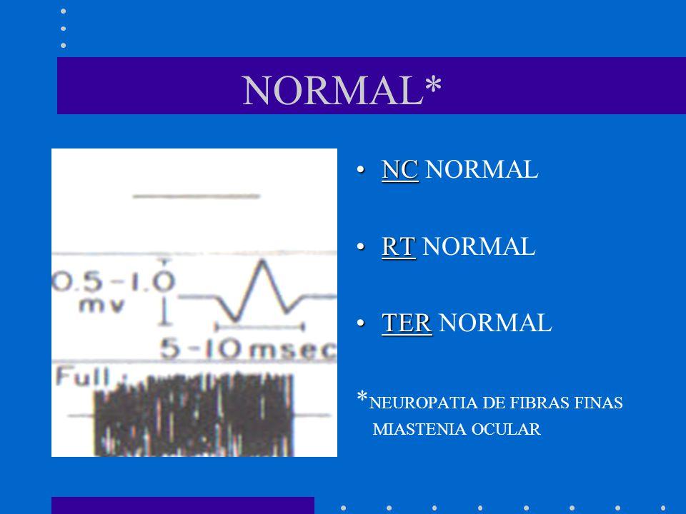NORMAL* NC NORMAL RT NORMAL TER NORMAL *NEUROPATIA DE FIBRAS FINAS