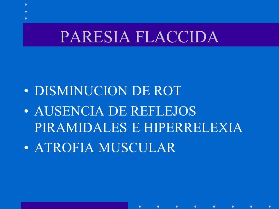PARESIA FLACCIDA DISMINUCION DE ROT
