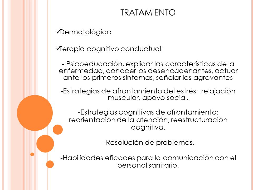 TRATAMIENTO Dermatológico Terapia cognitivo conductual: