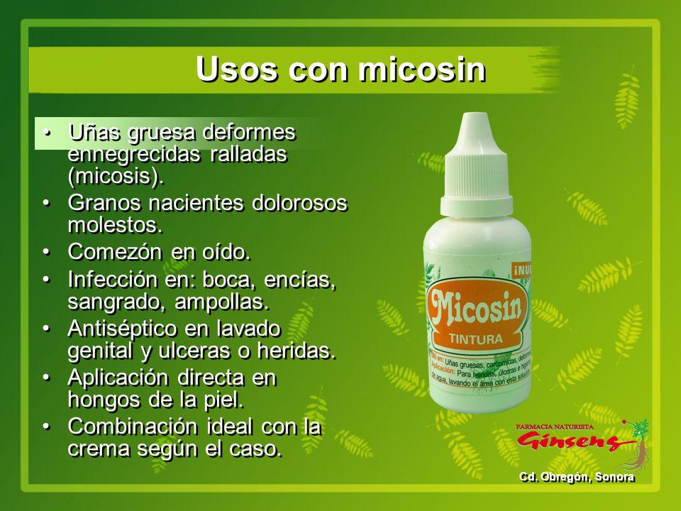Usos con micosin Uñas gruesa deformes ennegrecidas ralladas (micosis).