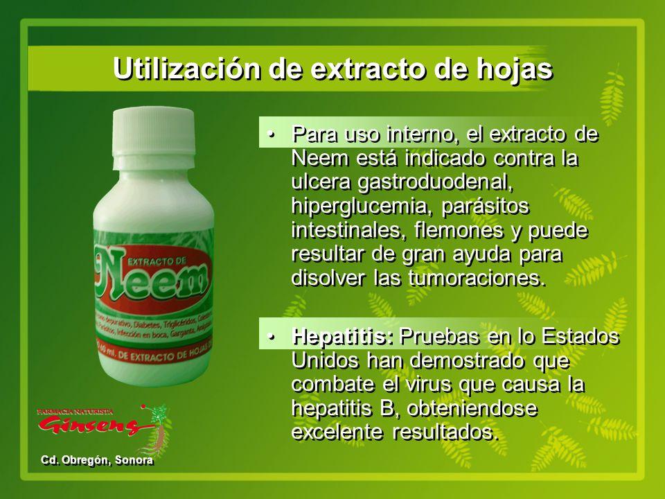 Utilización de extracto de hojas