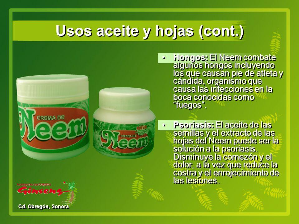 Usos aceite y hojas (cont.)
