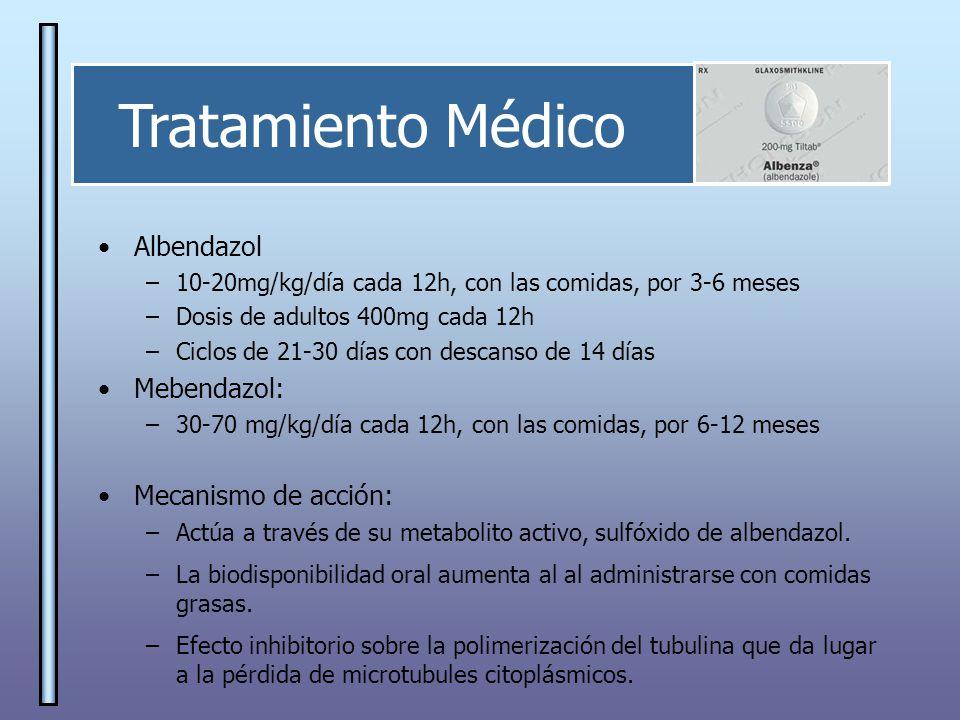 Tratamiento Médico Albendazol Mebendazol: Mecanismo de acción: