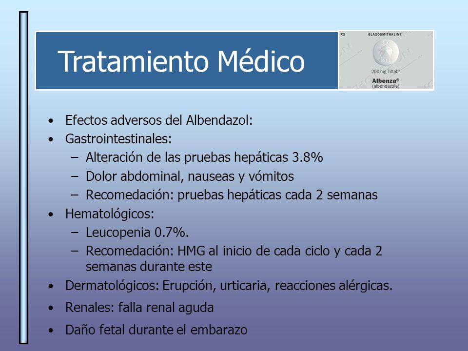 Tratamiento Médico Efectos adversos del Albendazol: