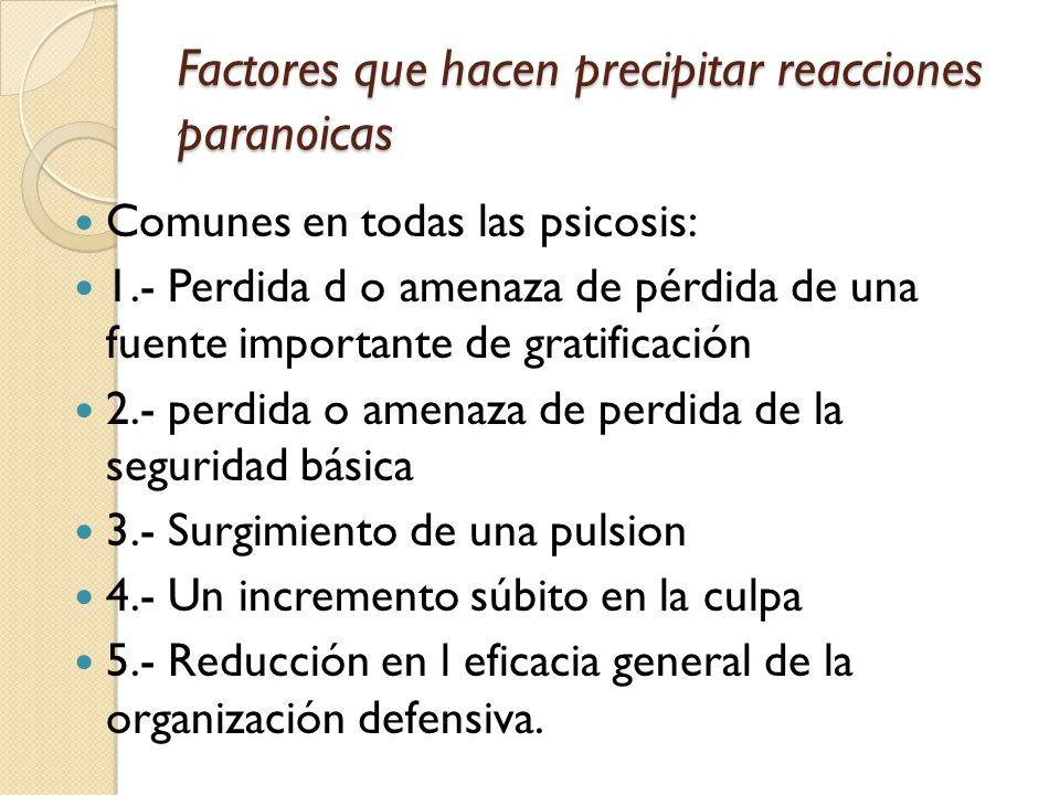 Factores que hacen precipitar reacciones paranoicas