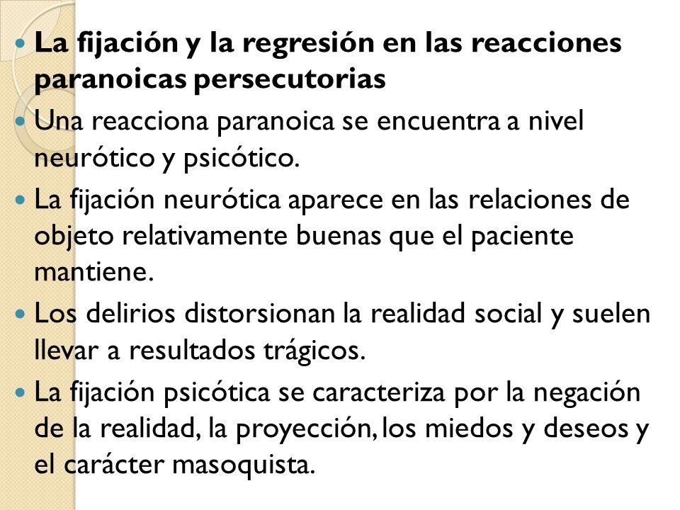 La fijación y la regresión en las reacciones paranoicas persecutorias