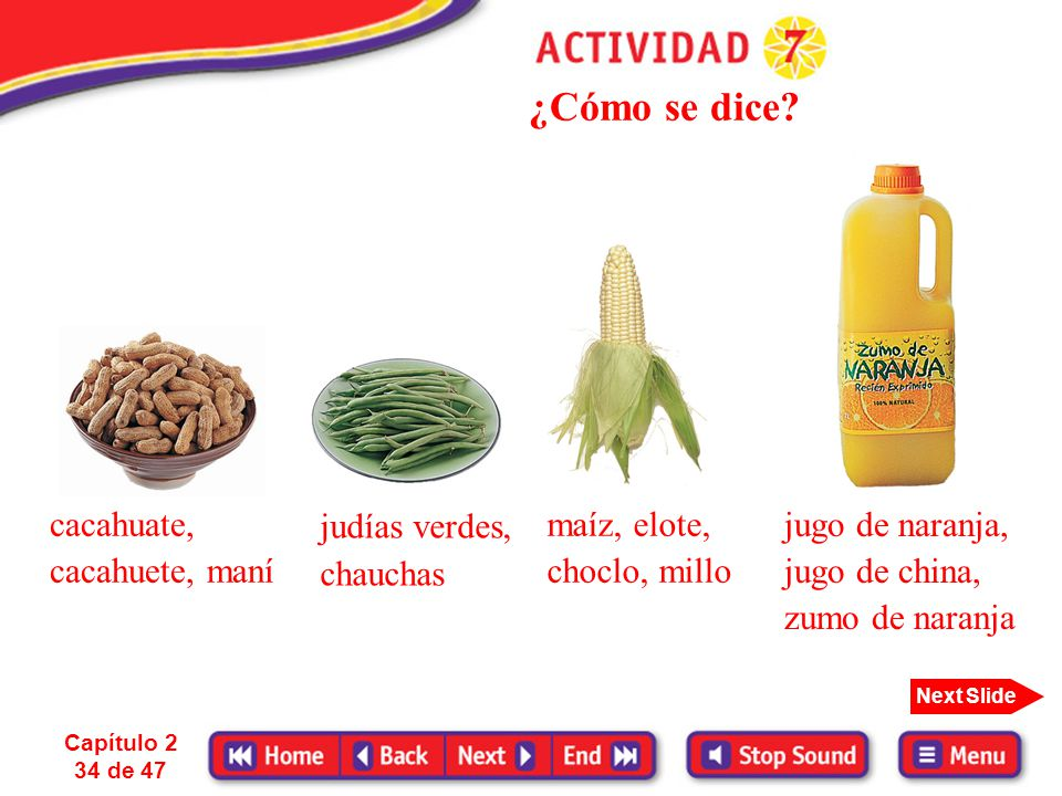 ¿Cómo se dice cacahuate, cacahuete, maní maíz, elote, choclo, millo