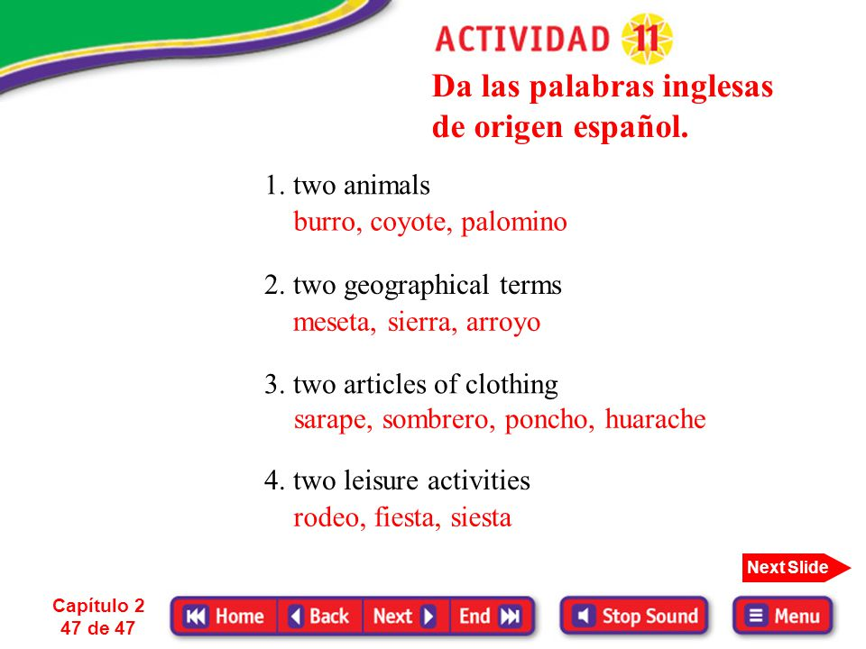 Da las palabras inglesas de origen español.