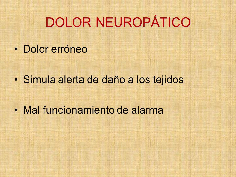 DOLOR NEUROPÁTICO Dolor erróneo Simula alerta de daño a los tejidos
