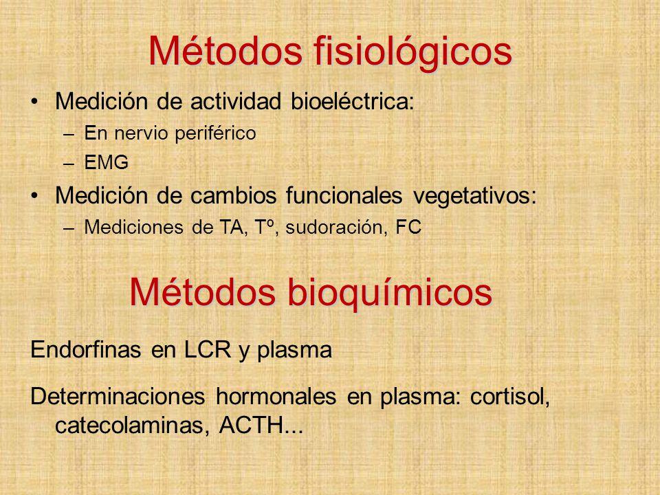 Métodos fisiológicos Métodos bioquímicos