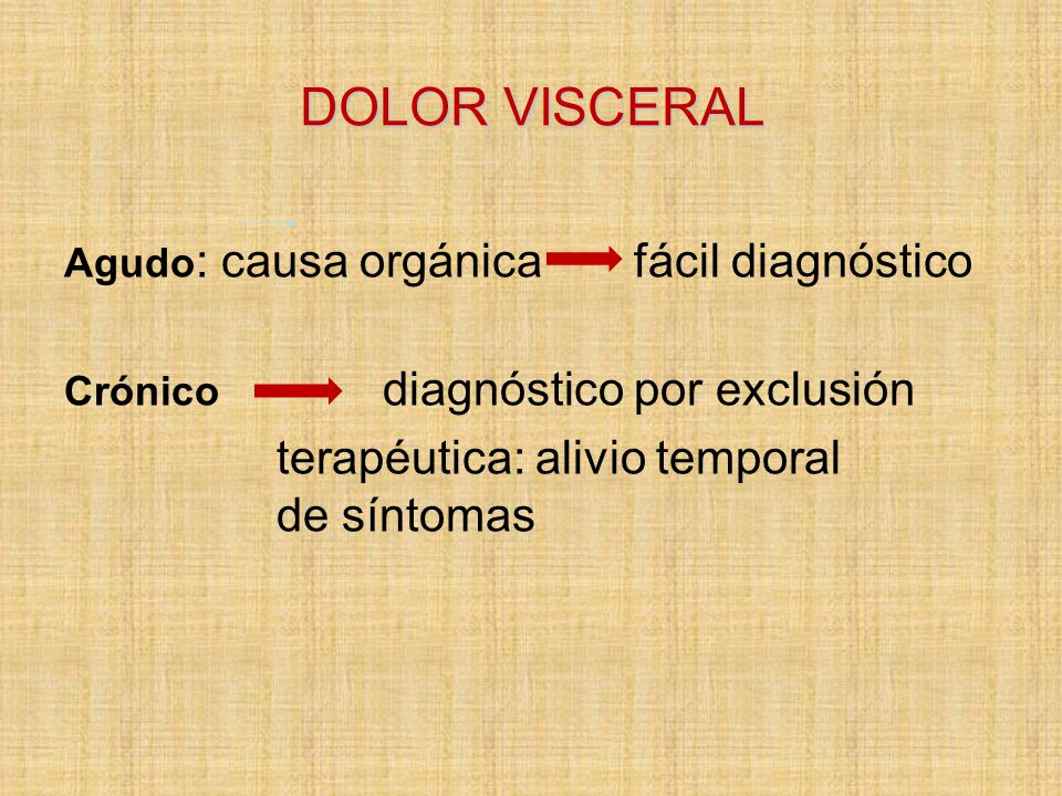 DOLOR VISCERAL terapéutica: alivio temporal de síntomas