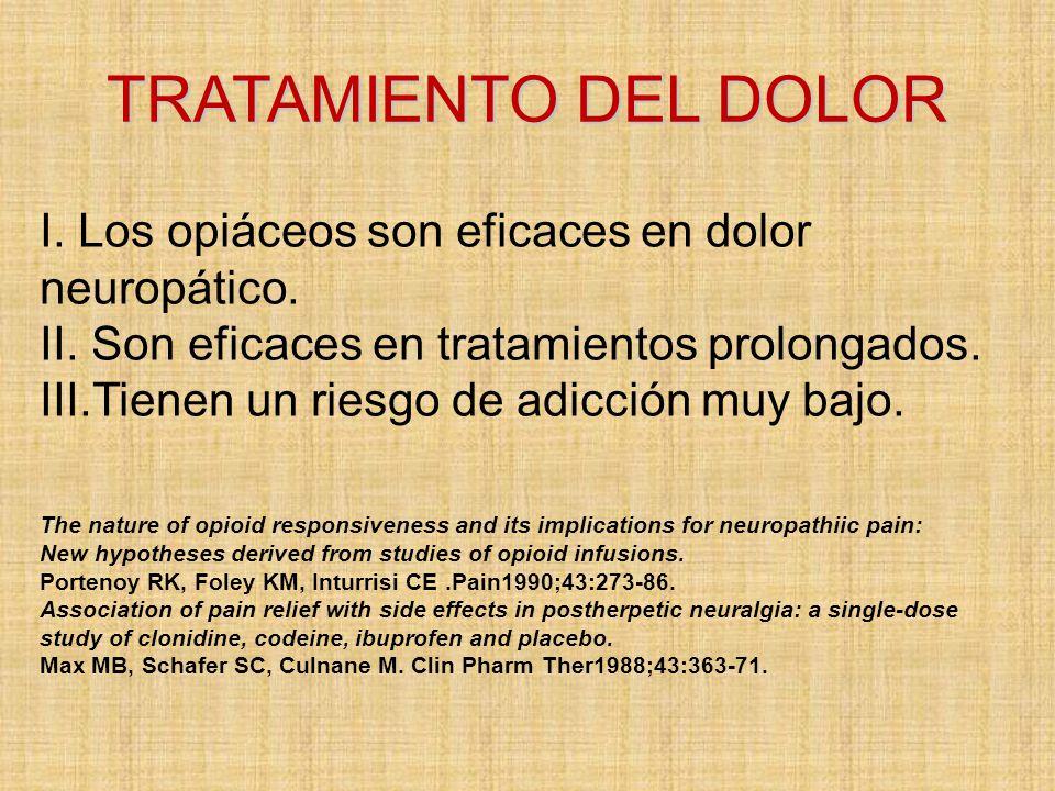 TRATAMIENTO DEL DOLOR I. Los opiáceos son eficaces en dolor neuropático. II. Son eficaces en tratamientos prolongados.