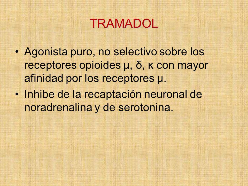 TRAMADOL Agonista puro, no selectivo sobre los receptores opioides μ, δ, ĸ con mayor afinidad por los receptores μ.