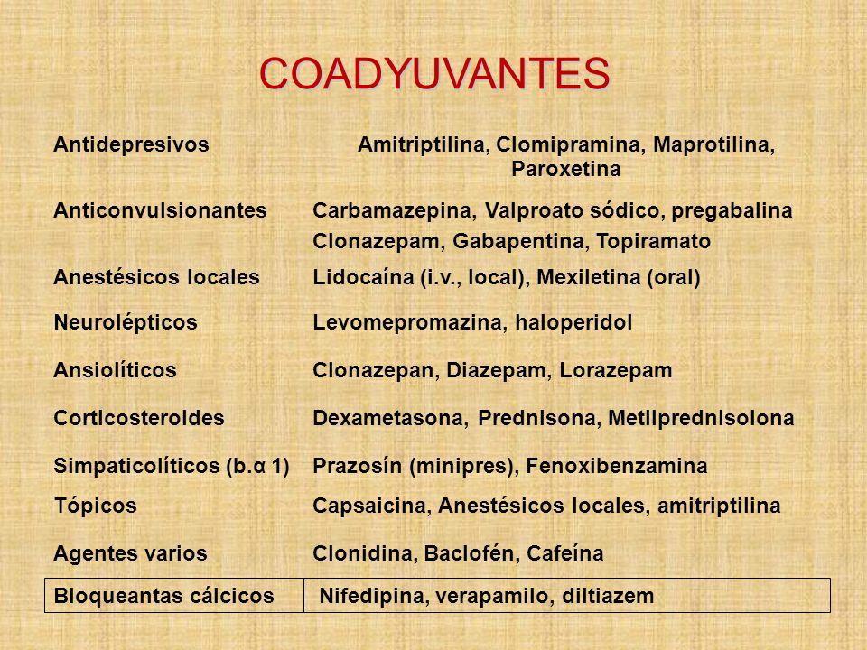 Amitriptilina, Clomipramina, Maprotilina, Paroxetina